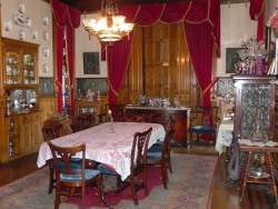 The dining room where guests visit while breakfast is served