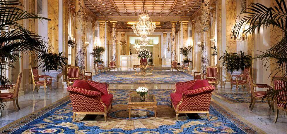 The elegant lobby at the Fairmont Copley Plaza