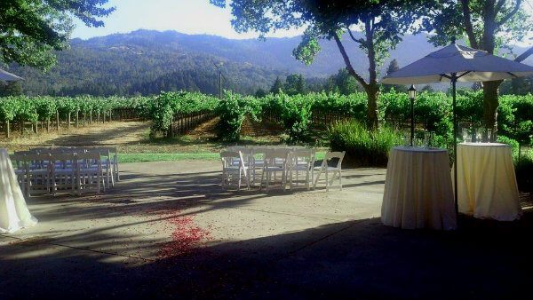 A Napa Valley wedding with a vineyard view at Harvest Inn