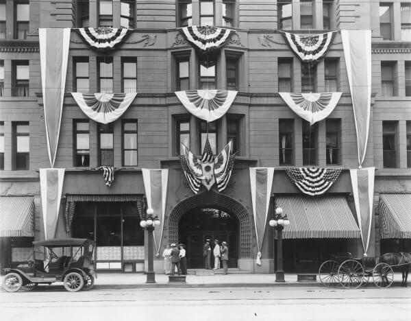 Historic Brown Palace Hotel Denver proudly displaying U.S. banders