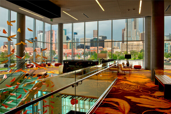 View of Downtown from lobby of SpringHill Suites Denver