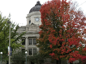 The courthouse in Bloomington's town square
