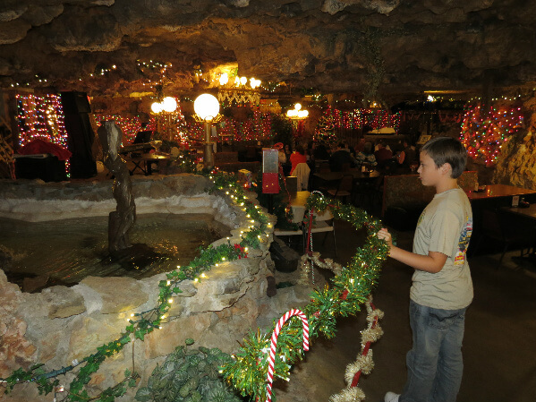 The Cave Restaurant in holiday cheer