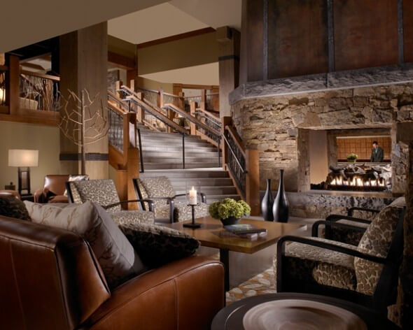Modern lodge interiors including living rooms at One Ski Hill Place.