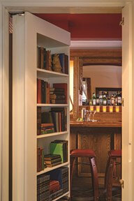 Behind the bookcase in the Carlton Hotel's Speakeasy Suite