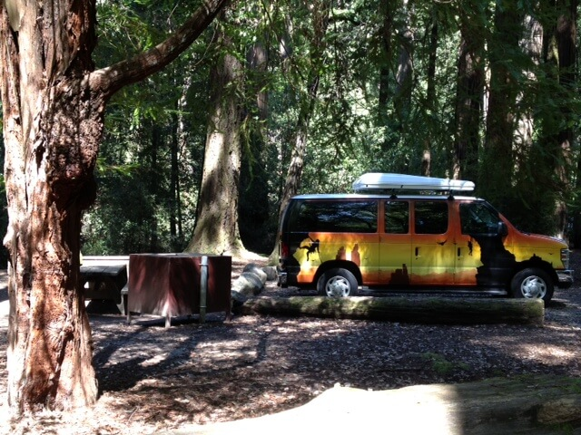 Our shady and secluded spot at Big Basin State Park
