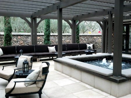 The secluded courtyard at the Hotel Yountville is just off the town's main road