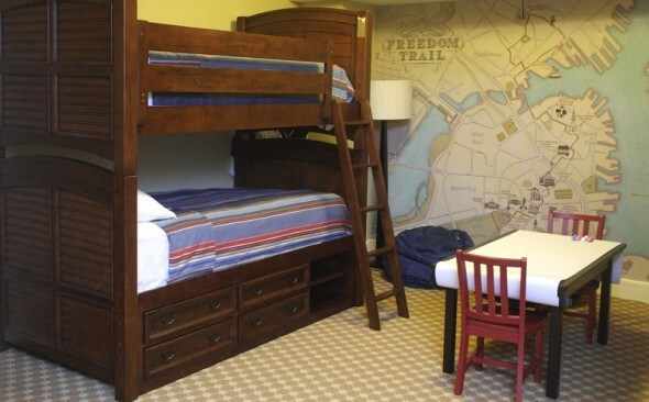 Family Suites at Omni Parker House include this Kid Nook with Bunkbeds