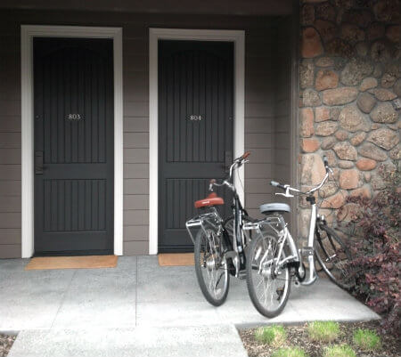 Cruiser bikes for guest use at Hotel Yountville