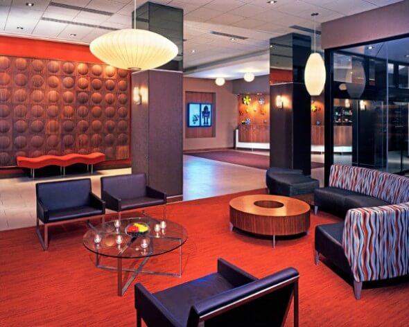 The funky lobby at the Curtis Hotel. Photo: The Curtis