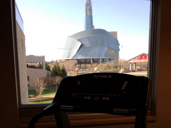 Fitness room view, Inn at The Forks, Winnipeg, Manitoba, Canada