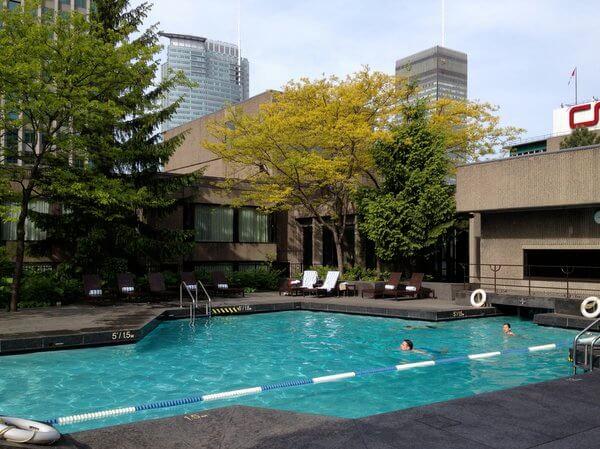 Rooftop pool, Hilton Montreal Bonaventure, Montreal, Quebec, Canada