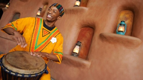 The African ambience is enhanced with performances in the Animal Kingdom Lodge lobby.