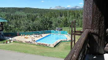 glacier lodge balcony and pool