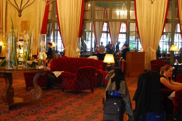The lobby of the Hotel du Golf Barriere in Deauville, France