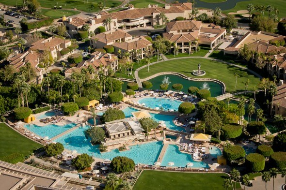 Aerial view of the Pools at The Phoenician.