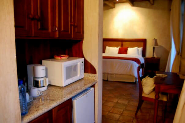 Premium rooms come with small kitchenettes with mini-fridges and microwaves