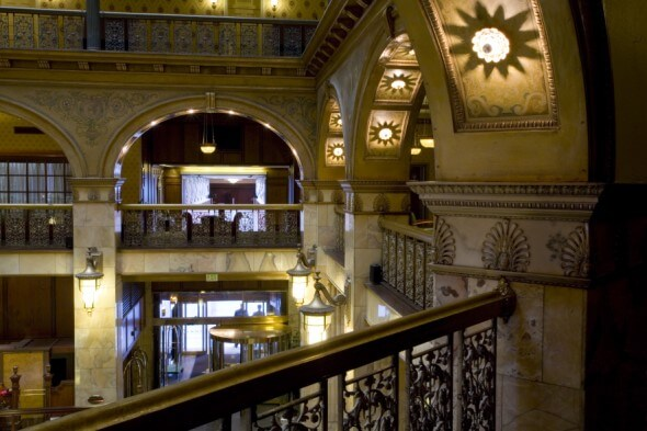 The elegant atrium of the Brown Palace Hotel