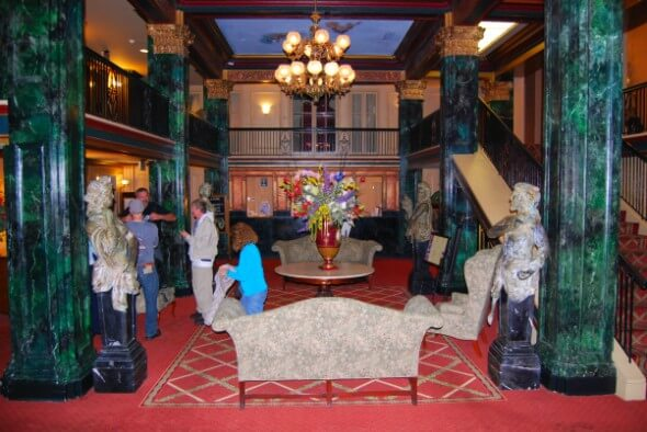 Ornate lobby of the Natchez Eola Hotel