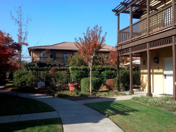 The rooms at the Lodge at Sonoma are located in several two-story cottages