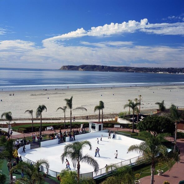 Beachfront ice skating at the Hotel del Coronado, San Diego