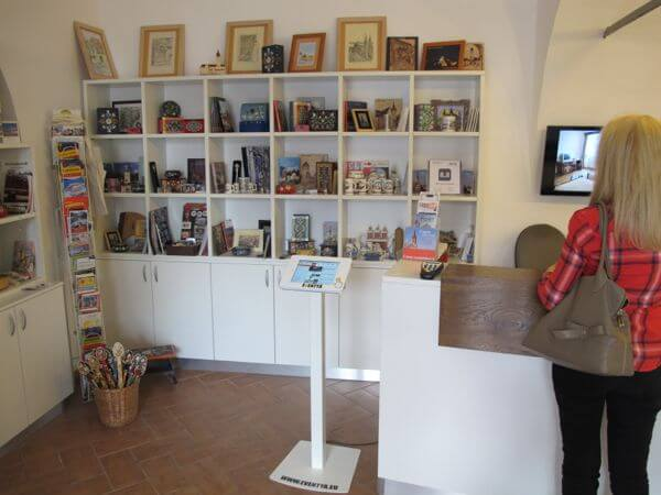 The check-in lobby at the Casa Luxemburg also has a small gift shop and is the city tourism office.