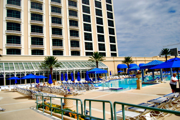 The Beau Rivage's pool offers a view of the Mississippi Gulf.