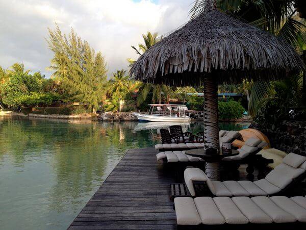 Waterfront deck, Fenua Mata'i'oa, Moorea, French Polynesia