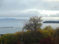 View of Lake Champlain from corner king room at Hotel Vermont