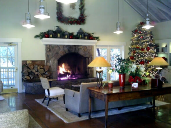 Meadowood's inviting lobby, decked out for the holidays