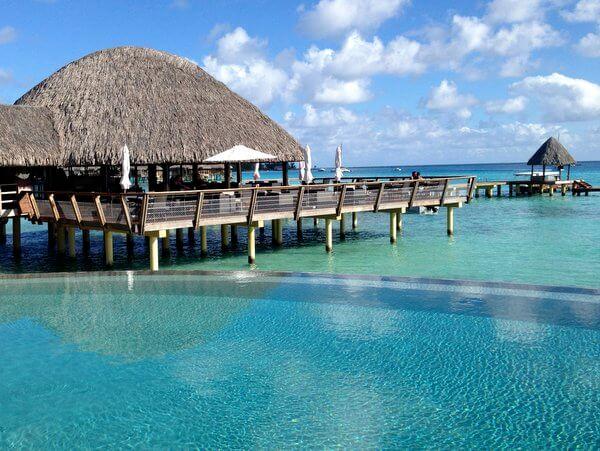 Bar and pool, Kia Ora Resort, Rangiroa, French Polynesia
