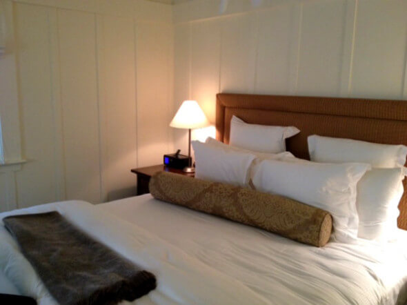 The oh-so-comfortable bed at Meadowood