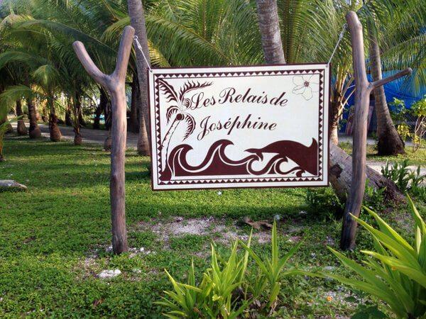 Signpost, Les Relais de Josephine, Rangiroa, French Polynesia