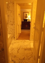 Italian marble bathroom at Ritz-Carlton San Francisco