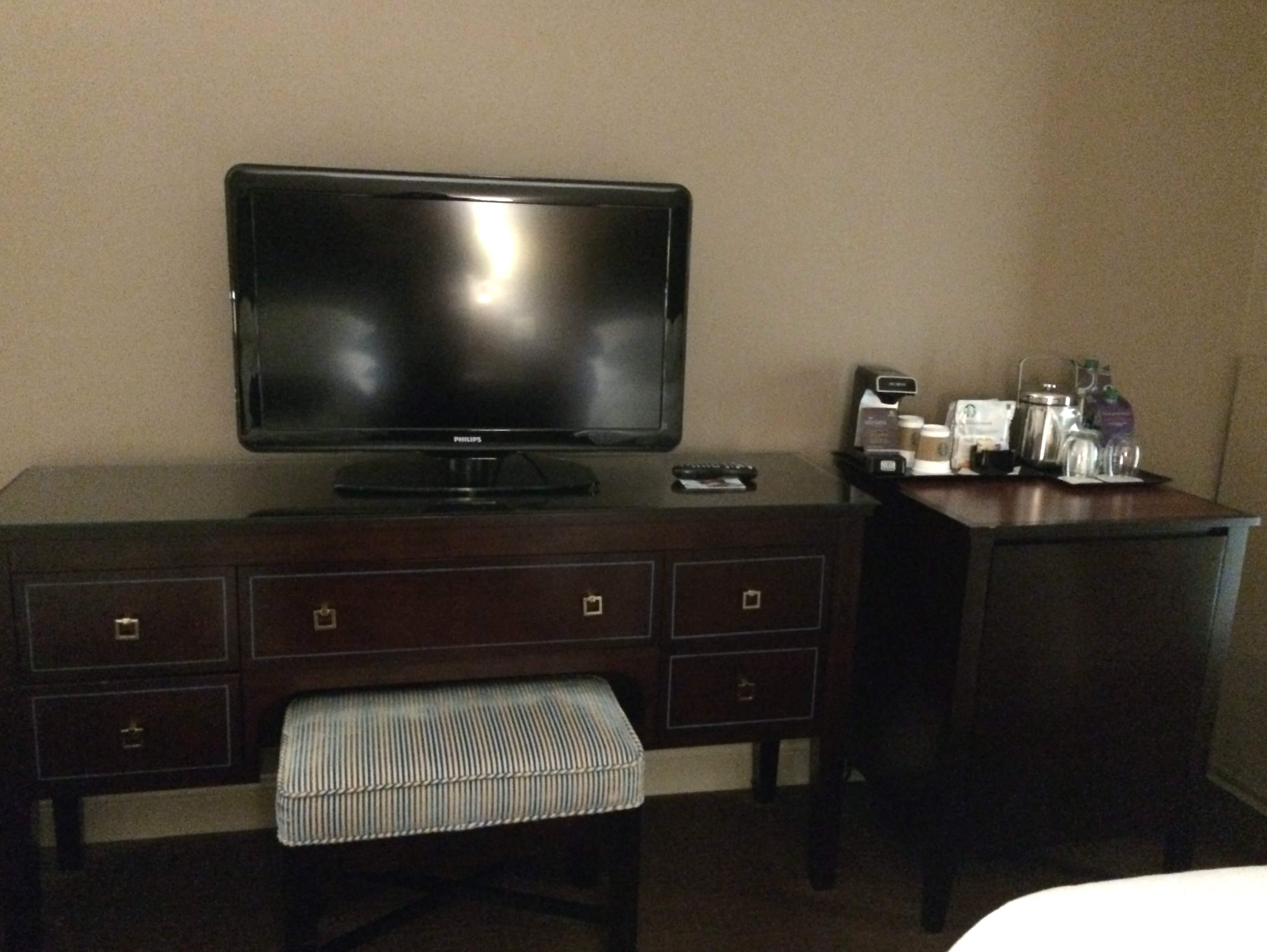 TV and storage in room