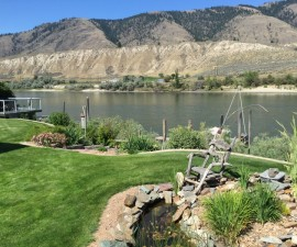 River and garden views, Riverside B&B, Kamloops, BC, Canada