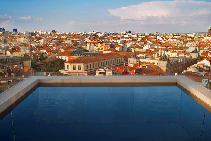 The Sky Pool at the Dear Hotel overlooks Madrid's rooftops. (Photo courtesy of the Dear Hotel)