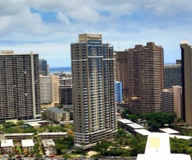 City view of skyscrapers from Ala Moana Hotel