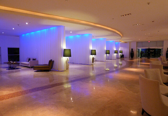 Le Blanc lobby at night