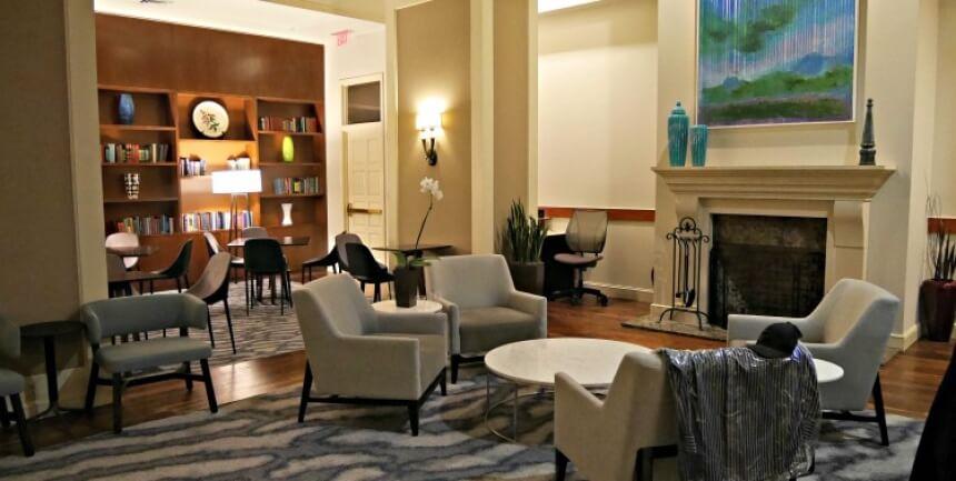 Lobby living room Club Quarters Philadelphia