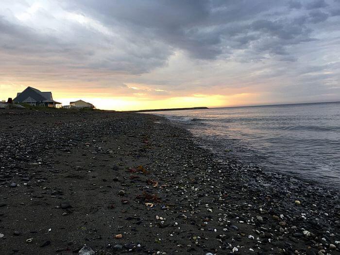 sunset on the beach behind Riôtel Matane