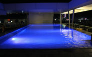The infinity pool at night is a stunner