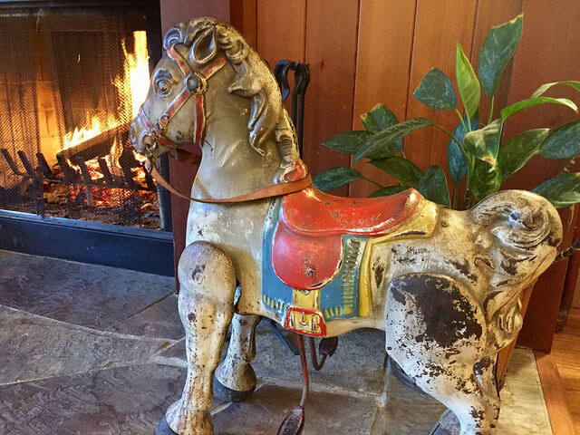antique horse, stanford inn, fireplace, eco-resort, mendocino, california
