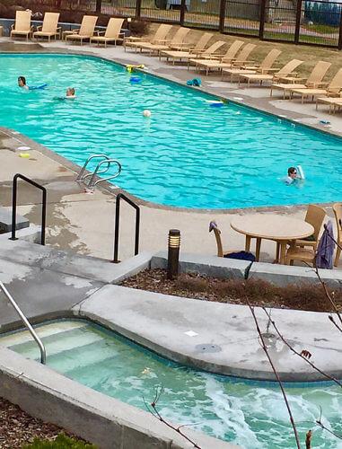swimming pool, fairmont jasper park lodge, outdoor pool, jasper national park, alberta, canada