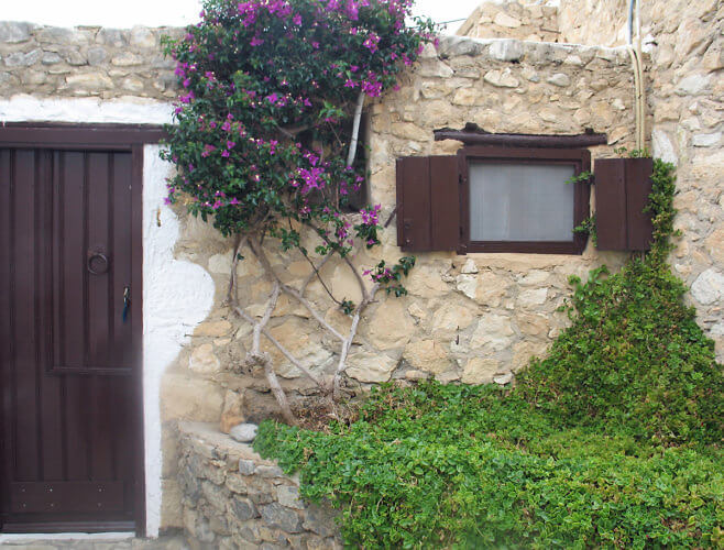 The door to my rooms at Koutsounari Traditional Cottages, Ierapetra, Crete, Greece. (Photo by Susan McKee)