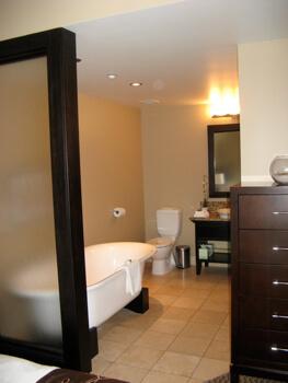 Bathroom (with no door) at the Parkside Victoria Resort & Spa, Victoria, BC