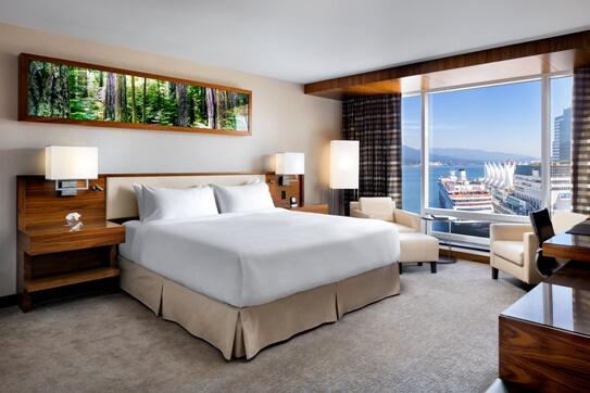 Harbour view room, Fairmont Pacific Rim Hotel, Vancouver BC Canada