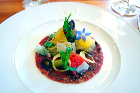 Beef carpaccio with vegetables and quail egg  from Michelin three-star  Chef Harold Wohlfahrt