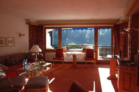 Sitting room with a view of the Black Forest at the Traube Tonbach