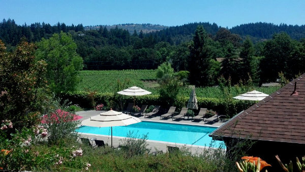 The pool at the Wine Country Inn is set in the vineyards